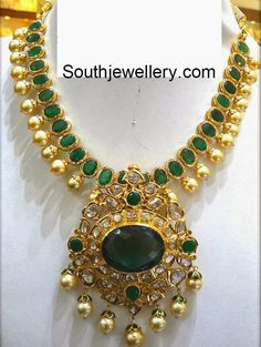 22 carat gold necklace studded with emeralds, flat diamonds and golden south sea pearls. For inquiries contact: Sri Mahalaxmi Gems & Jewellers General bazaar, Secunderabad Phone: / 9000703311 Emerald Necklace, Emerald Jewelry, Gold Pendant Necklace, Gold Jewelry, Gold Pendent, Emerald Pendant, Diamond Necklaces, Gold Necklaces, Diamond Jewellery