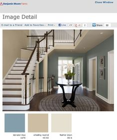 Benjamin Moore Interior Paint Colors | Burnett 1-800-PAINTING talks color flow with Benjamin Moore (I've been thinking about a variety of using similar colors in the LR, entry, and kitchen...after seeing this, it could work!)