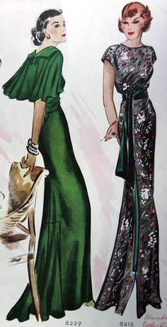 McCall 8229 and 8212 in 1935 color illustration 30s gowns green dress black floral long maxi evening formal