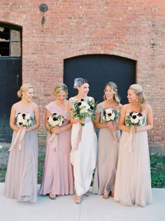 Neutral and blush bridesmaid dresses: http://www.stylemepretty.com/2015/11/24/elegant-fall-wedding-in-an-old-textile-factory/   Photography: Kate Ignatoskwi - http://www.kateignatowski.com/