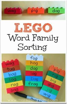 LEGO Word Family Sorting Activity - Students sort words and build object based on word families. Ideas for word family sort from Words Their Way by Lori Helman. Sorting Activities, Learning Activities, Lego Sorting, Word Family Activities, Literacy Games, Early Literacy, Party Activities, Toddler Activities, Jolly Phonics Activities