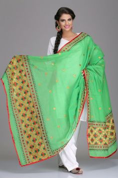 Soothing Lime Green Chanderi Dupatta With Multicoloured Phulkari Embroidery