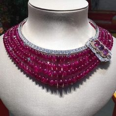 Van Cleef and Arpels the new collection by in Ruby Necklace, Ruby Jewelry, Seed Bead Necklace, Bead Jewellery, High Jewelry, Gemstone Necklace, Bridal Jewelry, Diamond Jewelry, Beaded Jewelry