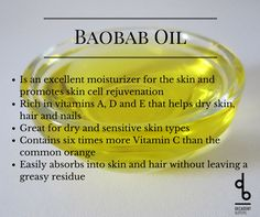 Baobab Oil Check out our IG feed for the easy DIY Nighttime Serum recipe.