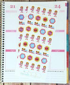 39 Brunette Superhero Stickers – Perfect for Erin Condren, Plum Paper Planner, Inkwell Press, Filofax, Scrapbooking & More