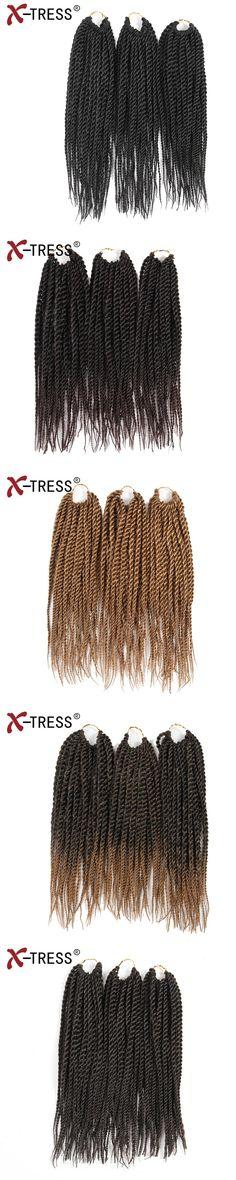 X-TRESS 12Inch 81Strands/3pcs/lot  Crochet Braiding Hair Small Senegalese Twist Crochet Braids Ombre Synthetic Hair Extensions