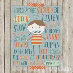 INSTANT DOWNLOAD, James 1:19-20 Printable, Quick to Listen, Slow to Speak Illustration, No. 224