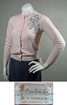 1950s - 1960s Pink Orlon Vintage Cardigan Sweater with Poodle Appliqué