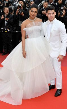 Priyanka Chopra & Nick Jonas from 2019 Cannes Film Festival: Best Style Moments In Georges Hobeika and Berluti Nick Jonas, Celebrity Look, Celebrity Couples, Happy Birthday Nick, Priyanka Chopra Wedding, Hollywood, Famous Couples, White Gowns, Celebs