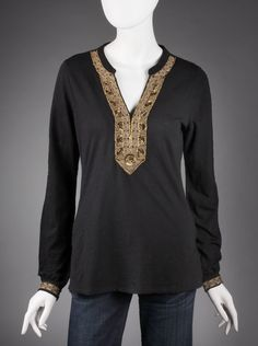 Lucky Brand® Jasmine Women's Tunic Top in Black.  Nothing polishes your look better than a Lucky Brand designer top. The Jasmine tunic top in black is decorated with beading and embroidery in all the right places to make you shine. The split neckline and decorative cuffs will dress up your skinny jeans.