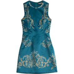 Roberto Cavalli Printed Satin Dress (€474) ❤ liked on Polyvore featuring dresses, short dresses, teal, special occasion dresses, blue mini dress, short evening dresses, blue dress and satin dress