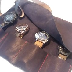 Leather Watch Roll, Leather Watch Case, Leather Watchroll, Customisable, Personalised, Rolled up Watch, Handmade toll roll father day gift
