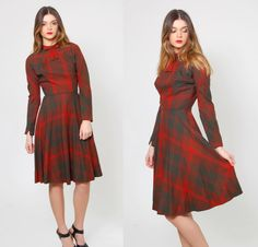 Vintage 40s PLAID Dress Red Wool RETRO Day Dress Rockabilly Jeane Scott School Girl Dress