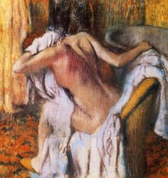 After the Bath, Woman Drying Herself  - Edgar Degas - WikiPaintings.org