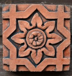 """Victorian Decorative brick """"Octagonal flower"""" design copy of Century decorative terracotta square wall tile hand cast from Wall Ornaments, Stone Houses, Architecture Details, Wall Tiles, Flower Designs, Terracotta, Victorian, Antiques, Handmade Gifts"""