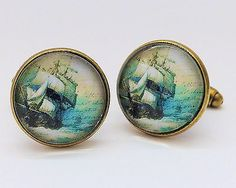 Sail away boat ship vintage #style bronze #colour mens #cufflinks gift - c075,  View more on the LINK: http://www.zeppy.io/product/gb/2/131533296239/
