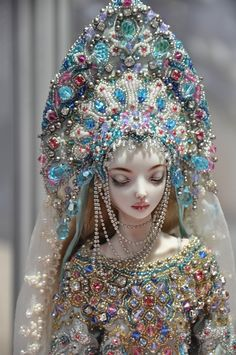 Snow Maiden by Marina Bychkova. Porcelain doll exhibited at VII International Salon of dolls in Tishinka.