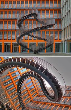 This artistic staircase designed by Olafur Eliasson is called Umschreibung (Rewriting), and was completed in 2004. It's in the courtyard of the global accounting firm KPMG in Munich.
