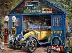 Vintage Cars, Antique Cars, Beach Scene Painting, Bike Sketch, Classic Cars British, Chevy, Nostalgic Art, Old Gas Stations, Fruit Photography