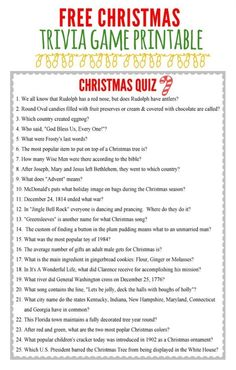 10 Christmas Party Game Ideas Everyone Will Love - Christmas Games Free Printable Christmas Trivia Game<br> Get the party started this holiday with fun Christmas games! Here are 10 Christmas Party Game Ideas for kids, adults and families. Printable Christmas Quiz, Christmas Trivia Games, Xmas Games, Christmas Games For Family, Holiday Games, Noel Christmas, Holiday Fun, Christmas Gifts, Christmas Parties
