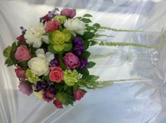 White and Pink Peonies, hydrangea and hanging Amaranthus