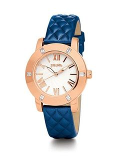 Folli Follie Donatella Watch with Blue Leather Strap - House of Fraser