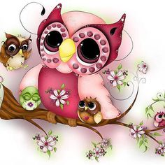 Mother Owl and Babies pieces) Baby Owl Tattoos, Tattoos For Kids, Owl Artwork, Bird Clipart, Owl Illustration, Owl Family, Owl Pet, Baby Drawing, Baby Owls