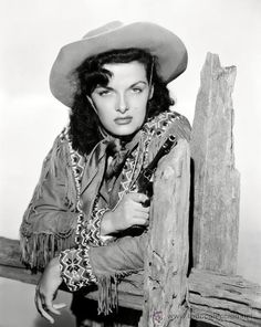 Jane Russell's ready to show the west who's boss. #cowgirls #wild_west #vintage #actress
