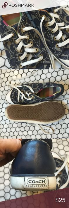 """Coach """"Barrett"""" denim sneakers Coach sneakers in navy. So cute! Worn but still have some miles in them. Fun colorful interior. Coach Shoes Sneakers"""