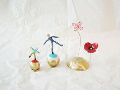 Set of three enameled micro sculptures by Akatos on Etsy, $91.12