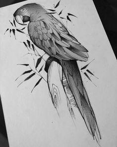 Arte criada pelo tatuador Robson Fig que trabalha em São Paulo. Papagaio em preto e cinza.