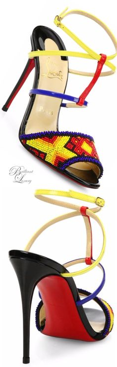 Brilliant Luxury * Christian Louboutin Tipika Beaded Leather Sandals SS 2016