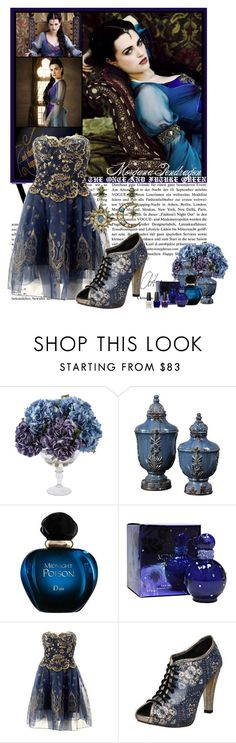 """The Once and Future Queen"" by maxisfashion ❤ liked on Polyvore featuring Uttermost, Christian Dior, Britney Spears, Zandra Rhodes, Diego Percossi Papi, OPI, bbc, cocktail dress, magical and purple"