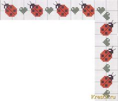Lady bug cross stitch border, these would be a sweet bookmark