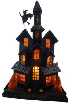 Spooky Black Glittered Halloween House