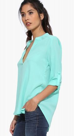 2015 summer dovetail green chiffon long-sleeved shirt ghl5196