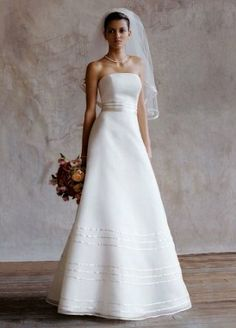 Strapless Organza A Line Gown with Ribbon Detail