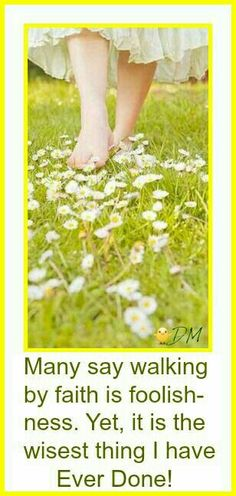 Many say walking by faith is foolishness. Yet, it is the wisest thing I have ever done (quote shared). I say, Amen To That! Words of Wisdom. Well said. Walk by Faith, not by sight.**{DM}**