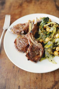 Lamb Chops with escarole and Chickpeas-chops take six minutes to cook so it's ready fast!