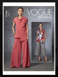 Modern Sewing Patterns, Vogue Sewing Patterns, Modern Tops, Sophisticated Dress, Loose Fitting Tops, Pants Pattern, Long Sleeve Tunic, Jacket Dress, Wide Leg Pants