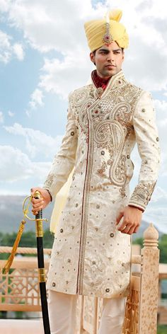 Royal Heritage Groom Sherwani Item code : not? Mens Sherwani, Wedding Sherwani, Indian Men Fashion, India Fashion, Wedding Men, Wedding Suits, Wedding Gold, Wedding Dress, Moda India