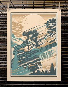 """DKNG Red Blue Bike Art Postcard Handbill 4 X 6/"""" like silkscreen poster print"""