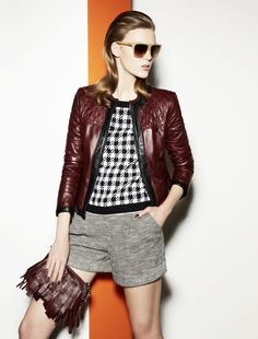 leather jacket Arnaldo, knit Caro, shorts Marasca, clutch Papaile