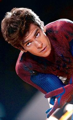 Andrew Garfield looks hot in the blue and red suit
