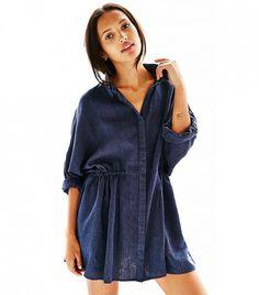 BDG Modern Drawstring Shirt Dress  // Navy blue collared dress