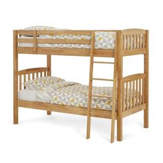 Choose from honey oak or white finish. Bunk bed can be split into two single beds. Suitable for both children and adults. Fits two single mattresses. Free next day delivery. Supplied by Serene Furnishings. Oak Bunk Beds, Single Beds, Mattresses, Honey, Delivery, It Is Finished, Children, Wood, Free