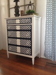 Stenciled dresser / chest of drawers