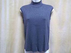 COLDWATER CREEK Silk Blend Gray Silver Metallic Knit Top Size S 4-6 Career Wear