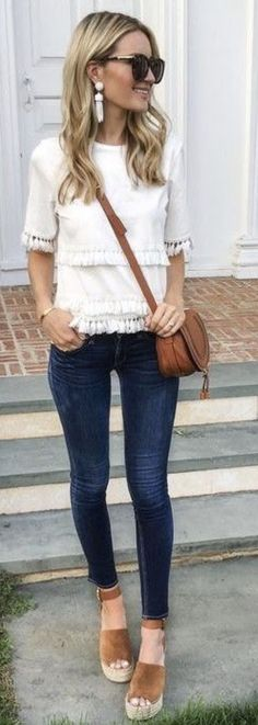 I love everything about this look. Tassels, neutrals, wedges! It's such a simple look but easy to create. Effortless style