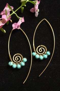 Turquoise swirl leave earrings by crafitti on Etsy